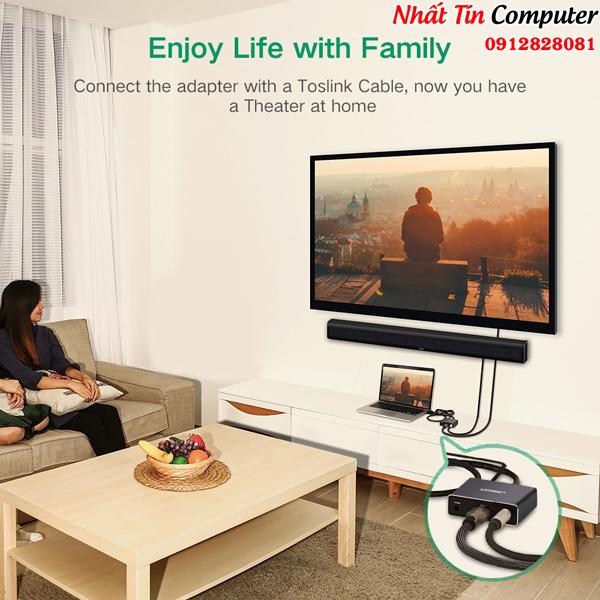 Cáp chuyển đổi HDMI to HDMI + Audio 3.5mm và 1 cổng quang SPDIF 5.1/7.1 chính hãng Ugreen UG-40281 cao cấp