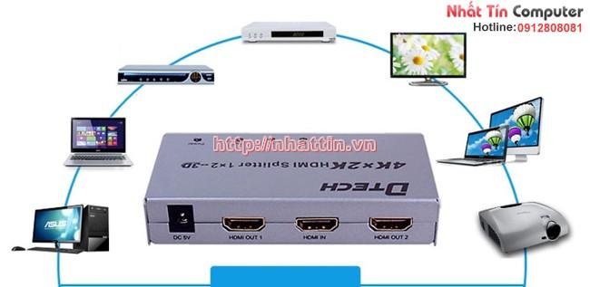 Bộ chia HDMI 2 cổng DTECH DT-7142 - Trình chiếu 4K sắc nét nhất
