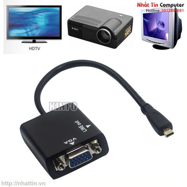 Dây cáp chuyển Micro HDMI to VGA Video Audio Converter màu đen