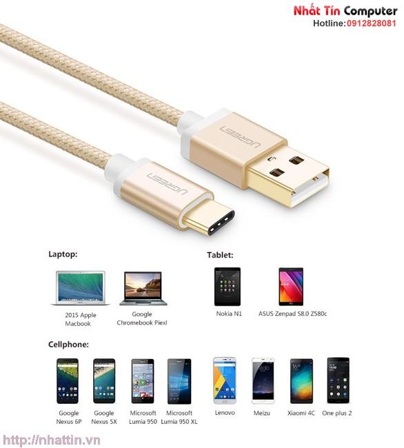 Cáp USB-C to USB 2.0 dài 1,5m màu Gold chính hãng Ugreen UG-20861 cao cấp