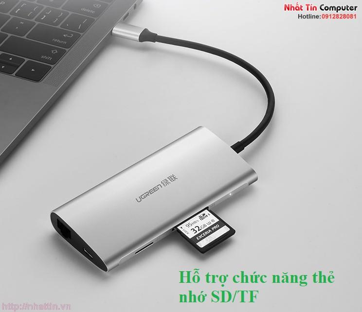 thiet-bi-mo-rong-usb-type-c-sang-hdmi-ethernet-hub-usb-3-0-card-sd-tf-ugreen-50516