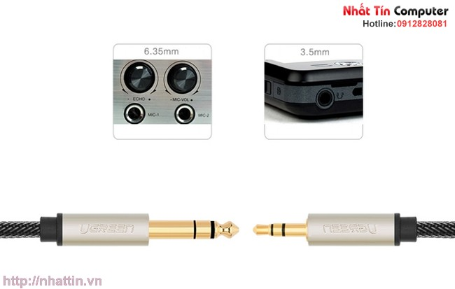 Dây cáp audio 3.5MM to 6.5MM hai đầu dương dài 2m Ugreen 10628