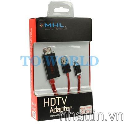 Cáp MHL 2m cho sky ,LG, HTC, Samsung, Sony