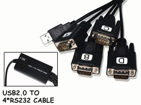 Cáp chuyển USB sang 4 cổng com 9 chân hãng Z - Tek,cáp chuyển usb sang 4 com