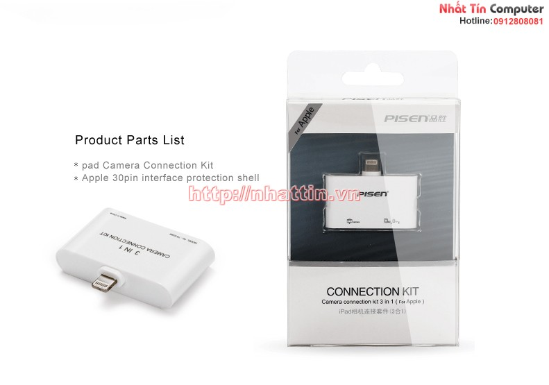 Pisen TS-E085 Camera Connection Kit 3 in 1 cho Ipad 4, Mini, Air