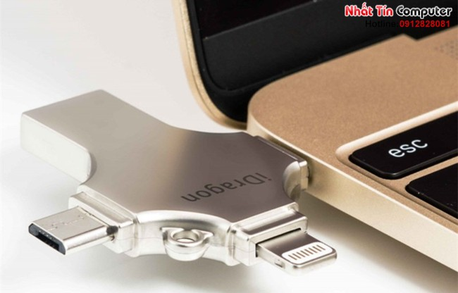 iUSB FlashDriver 16gb iDragon-U009 cho điện thoại Iphone, Ipad, Ipod, Android (màu bạc)