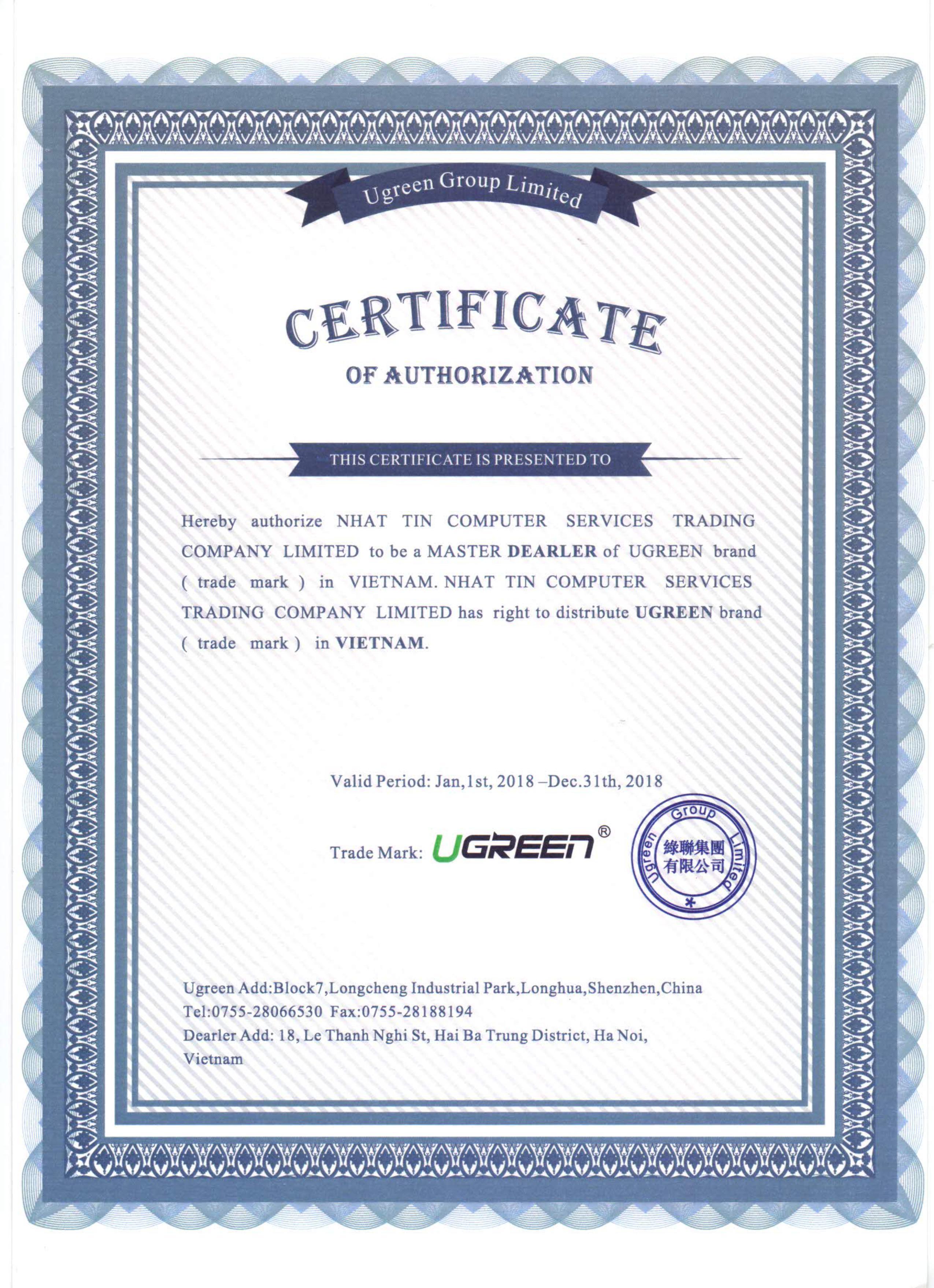 Chứng nhận đại lý phân phối Ugreen chính hãng tại Việt Nam