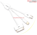 Cable 3 in 1 (MicroUSB, Lightning, iPhone 4) Chính hãng Pisen