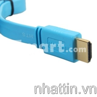 Cáp HDMI to HDMI 1.5M HD Flat Cable Blue Pink