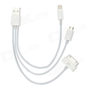 Cáp sạc usb 30 Pin, 8pin, Micro USB  3 in 1cho iPhone 5 iPad 4,mini,Samsung S2,HTC,Samsung Tab