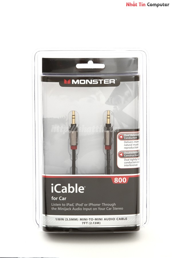 Cáp Aux Monster iCable 800 for Car Ipod Iphone Mini Jack Audio OEM 2.13m