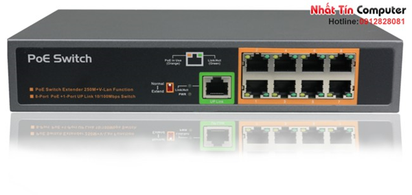 Switch PoE 8 Port 10/100Mbps IEEE802.3af/at khuếch đại 250M KMETech PSE908-EX công suất 150W